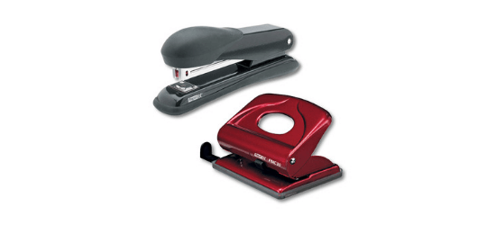 Staplers and hole punches